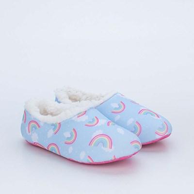 Sapatilha Meia Infantil Kidy Socks Fun Azul Arco-iris com Pelo Carneirinho