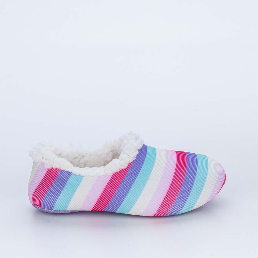 Sapatilha Meia Infantil Kidy Socks Fun Colorida com Pelo Carneirinho