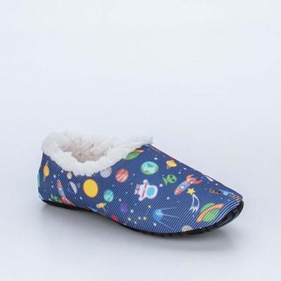 Sapatilha Meia Infantil Kidy Socks Fun Marinho Galáxia com Pelo Carneirinho