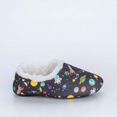 Sapatilha Meia Infantil Kidy Socks Fun Preta Galáxia com Pelo Carneirinho