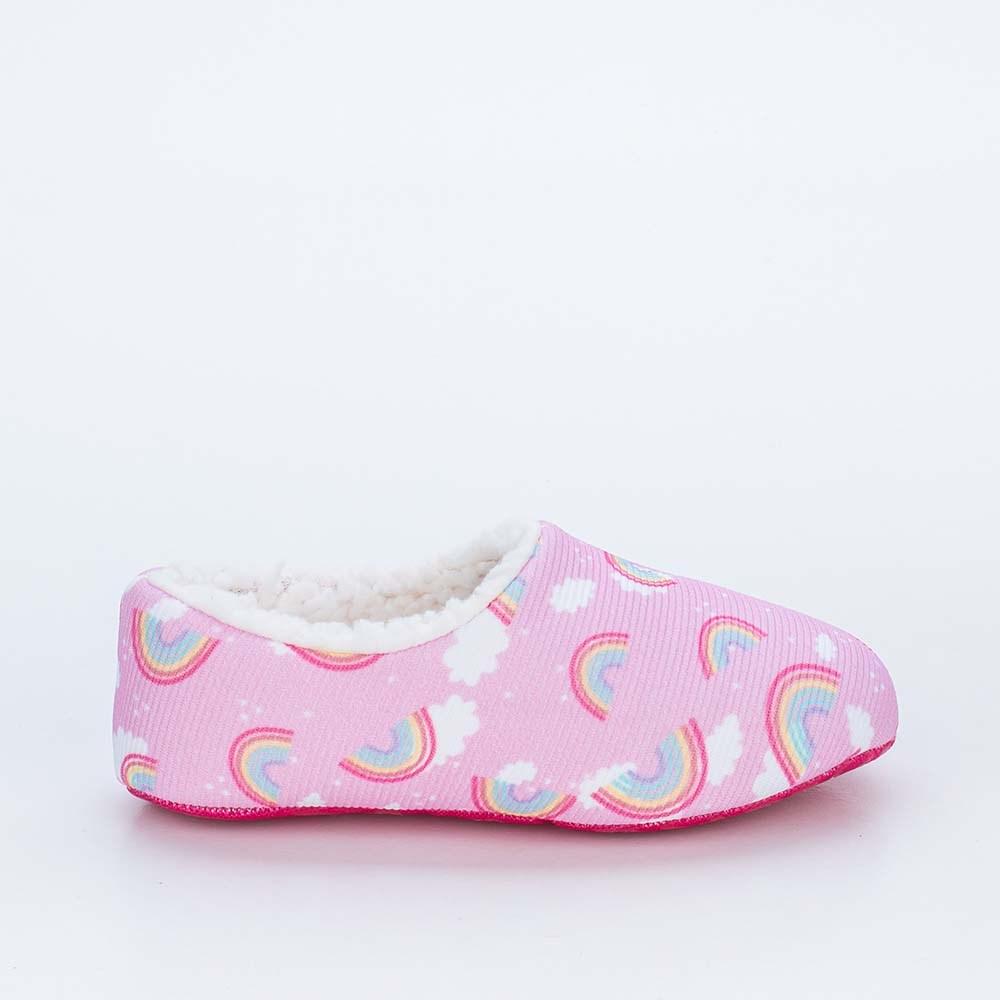 Sapatilha Meia Infantil Kidy Socks Fun Rosa Arco-iris com Pelo Carneirinho