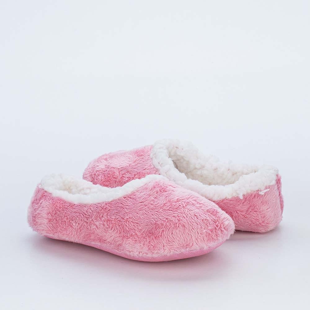 Sapatilha Meia Infantil Kidy Socks Fun Rosa com Pelo Carneirinho