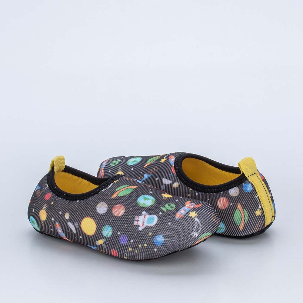 Sapatilha Meia Infantil Kidy Socks Preto Galáxia