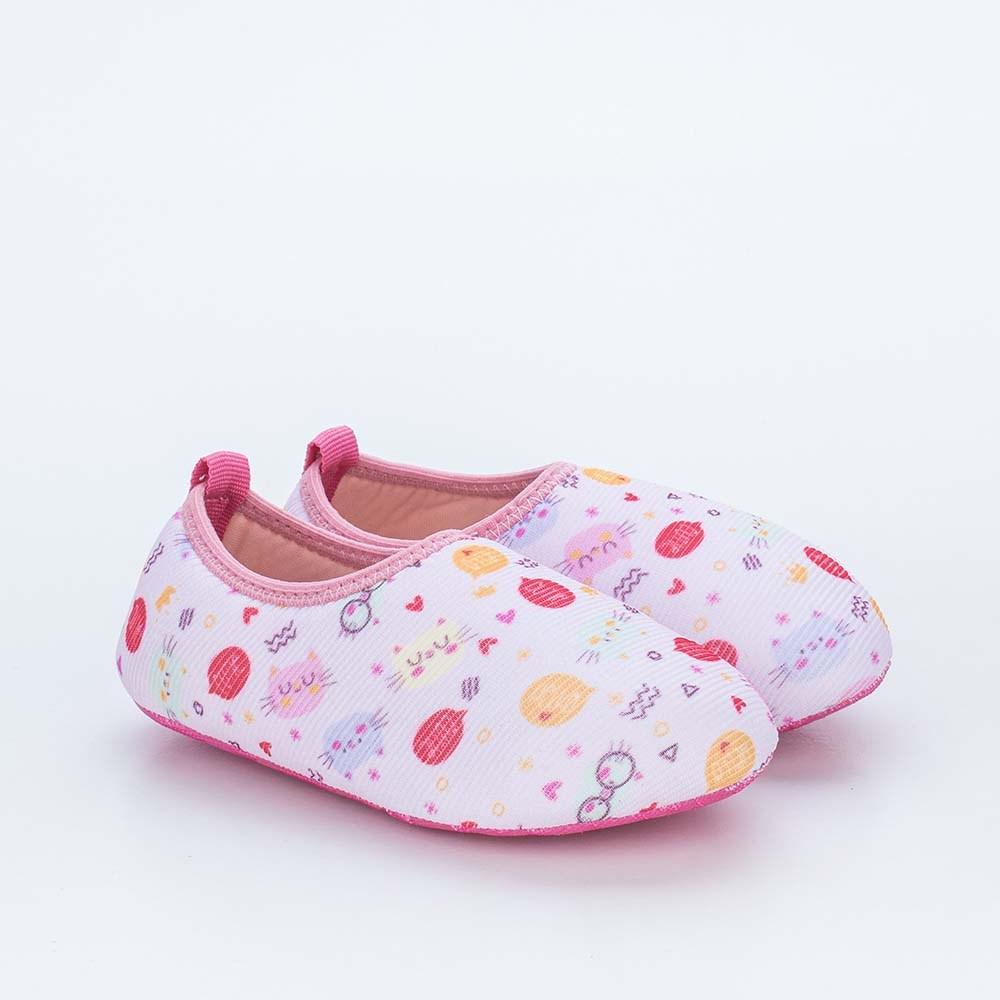 Sapatilha Meia Infantil Kidy Socks Rosa Gatinho