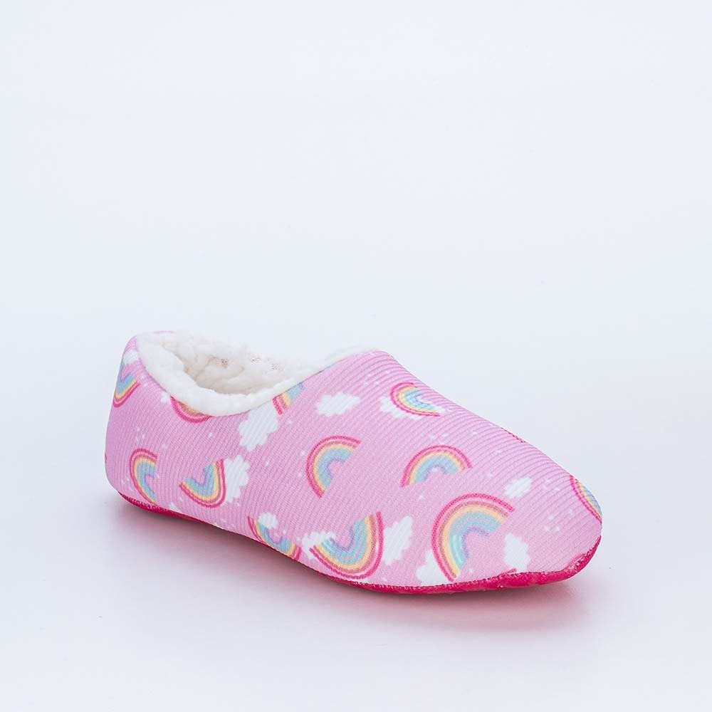 Sapatilha Meia Infantil Socks Fun Arco-iris Pelo Carneirinho