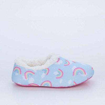 Sapatilha Meia Infantil Socks Fun Azul Arco-iris com Pelinho