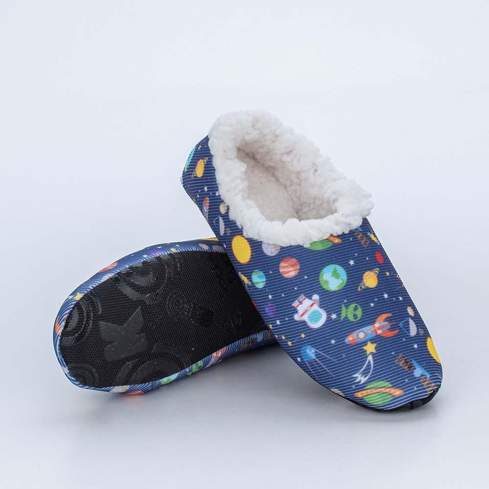 Sapatilha Meia Infantil Socks Fun Galáxia com Pelinho