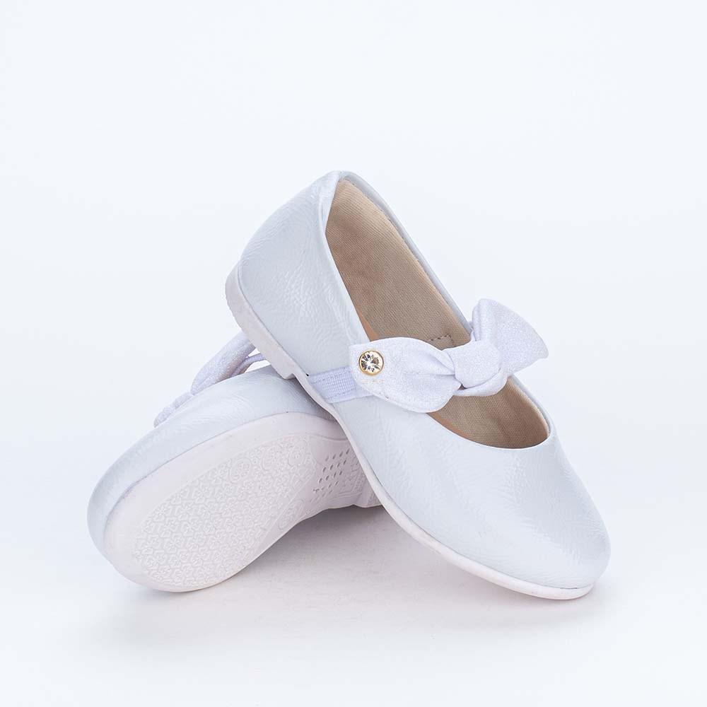 Sapatilha Menininha Bailarina com Laço de Glitter Branca