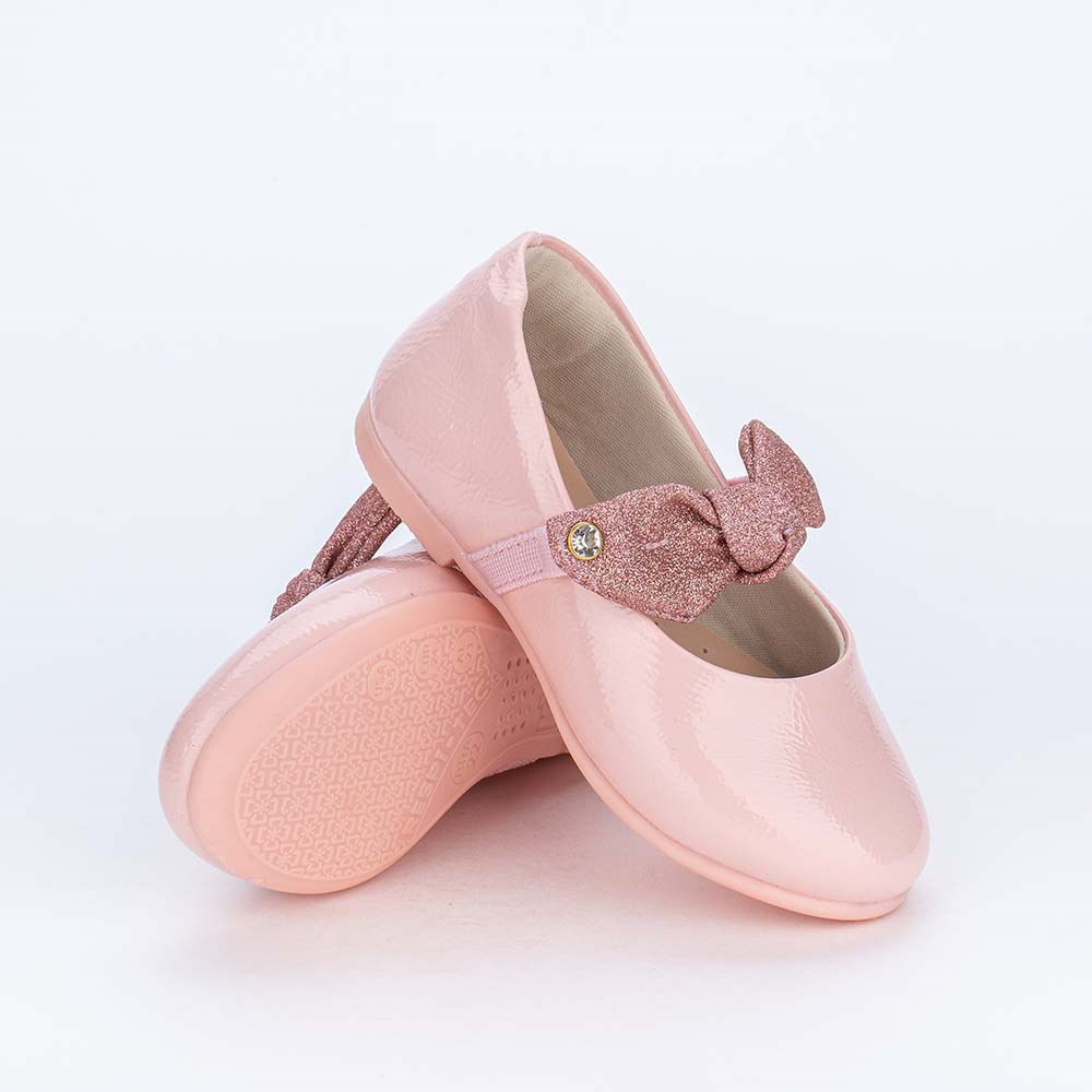 Sapatilha Menininha Bailarina com Laço de Glitter Rosa Nude