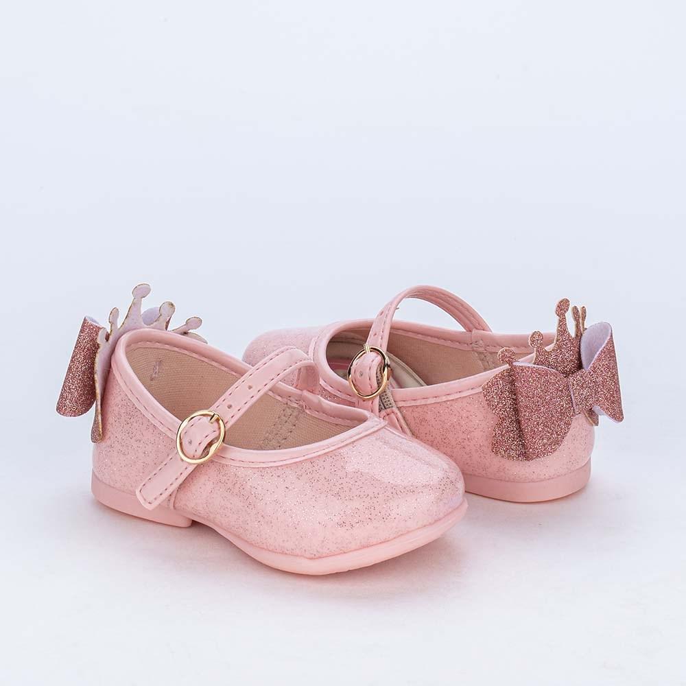 Sapatilha para Bebê com Glitter e Patche de Brilho Rosa Nude