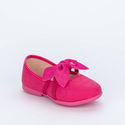 Sapatilha para Bebê em Matelassê de Coração e Laço Pink