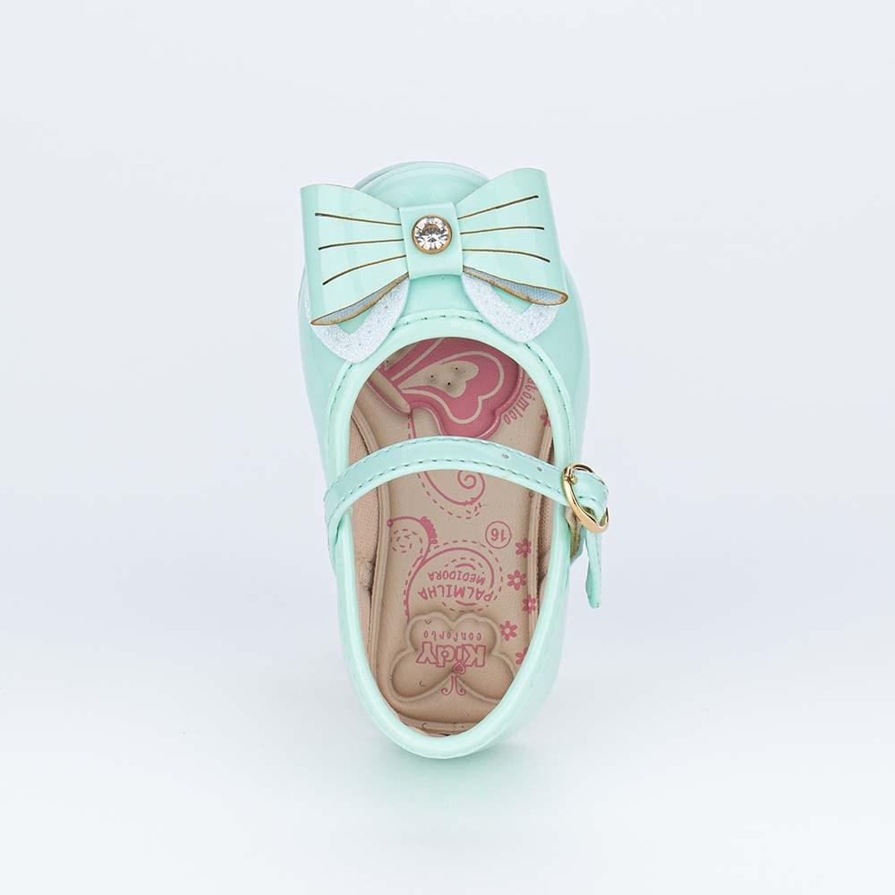 Sapatilha para Bebê Menina Kidy com Lacinho Verde Marine