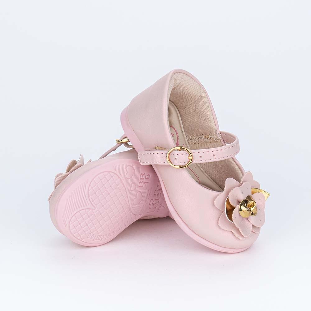 Sapatilha para Bebê Menina Kidy Metalizada Rosa Nude