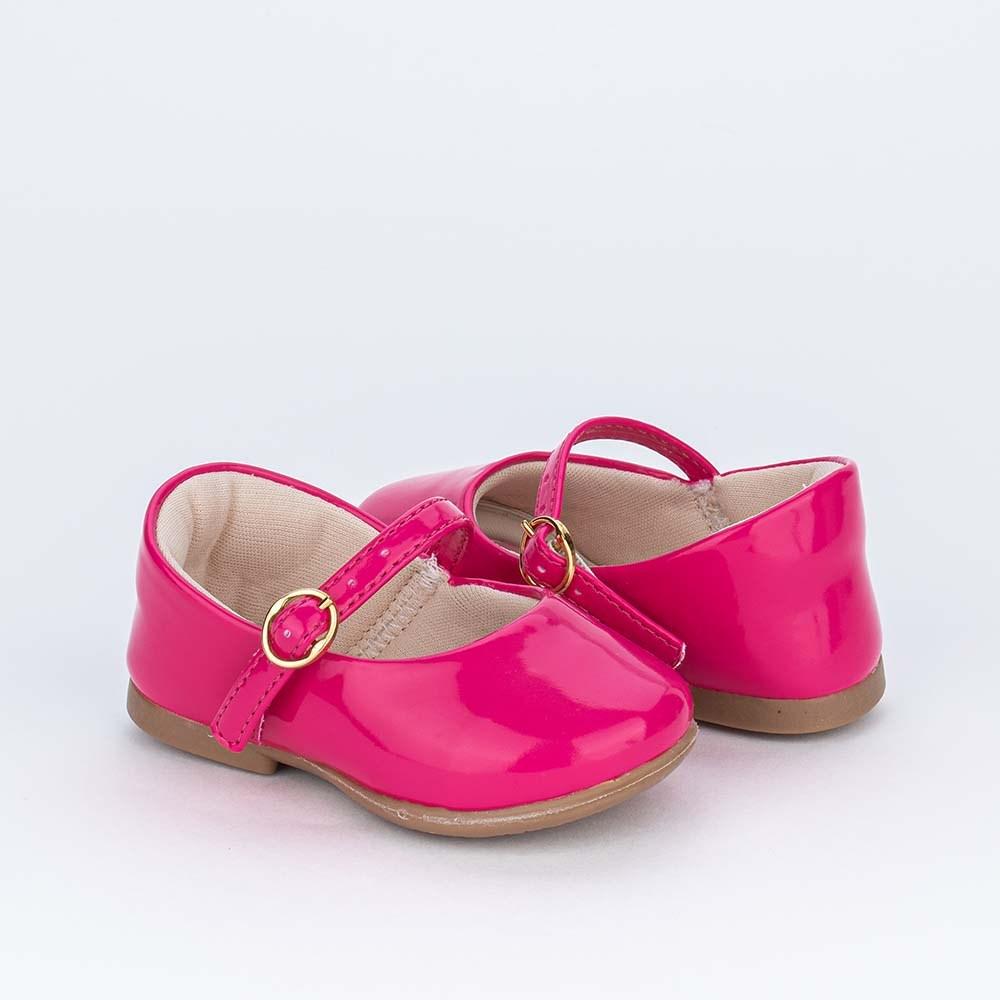 Sapatilha para Bebê Menina Kidy Pink em Verniz