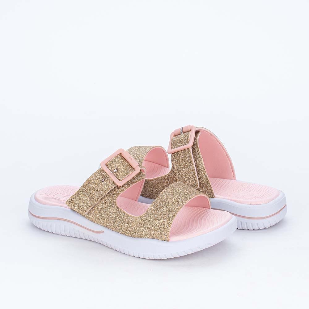 Slide Infantil Feminina Glitter e Bolsinha de Coração Dourada