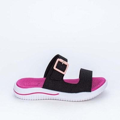 Slide Infantil Feminina Glitter e Bolsinha de Coração Preta