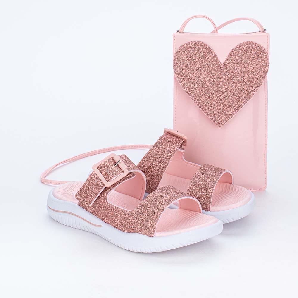 Slide Infantil Feminina Glitter e Bolsinha de Coração Rosa