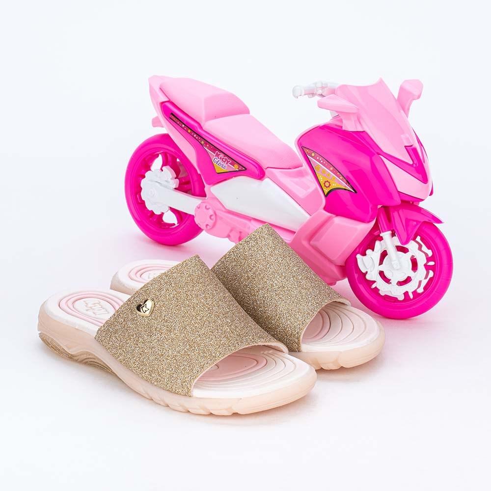 Slide Infantil Feminino de Glitter Dourado Pink e Scooter