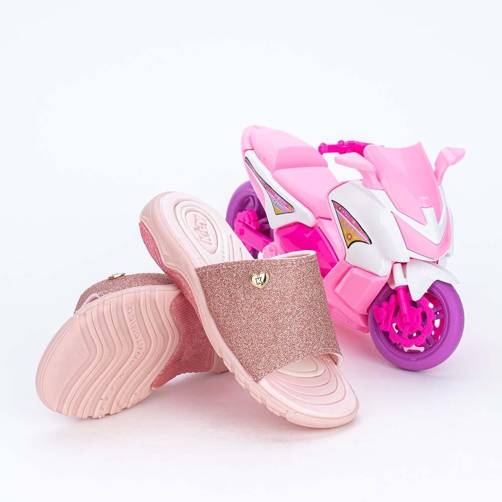 Slide Infantil Feminino de Glitter Rosa Nude Pink e Scooter