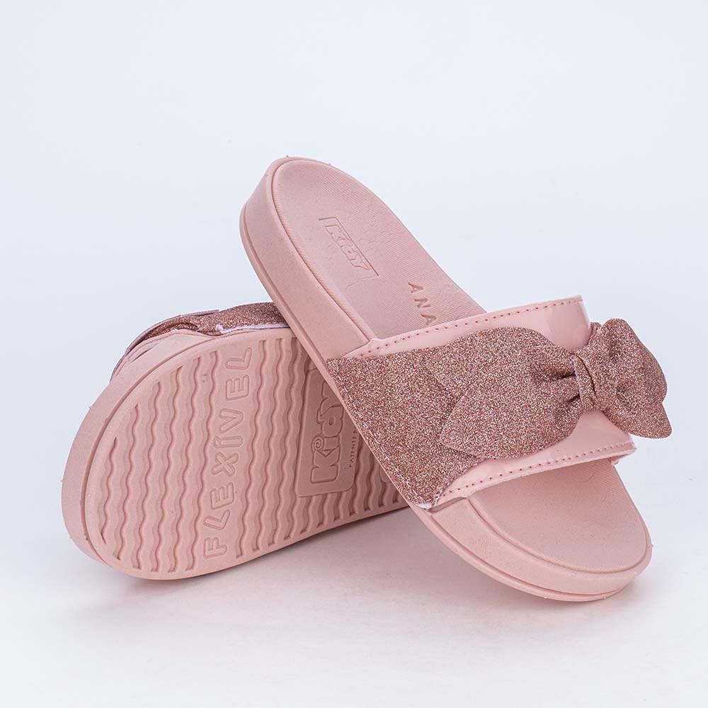 Slide Infantil Feminino Kidy com  Laço de Glitter Rosa Nude