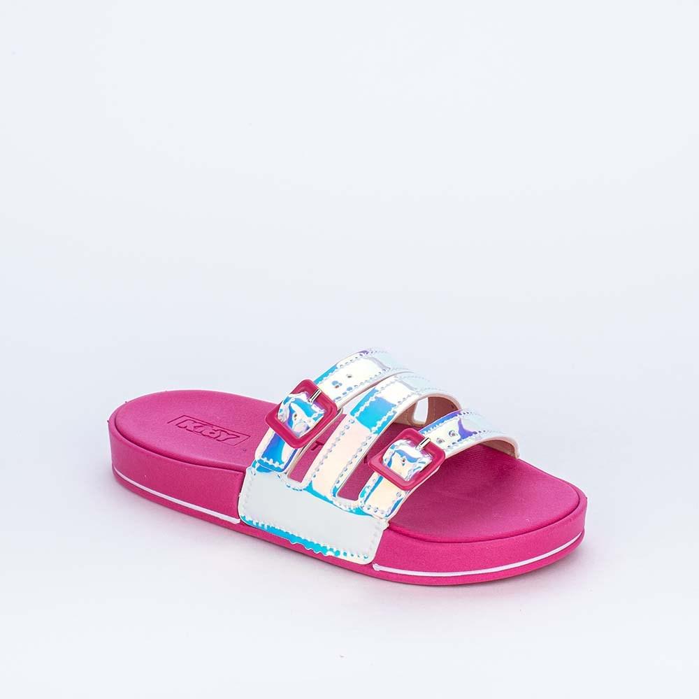 Slide Infantil Feminino Kidy com Tiras Holográfico e Pink