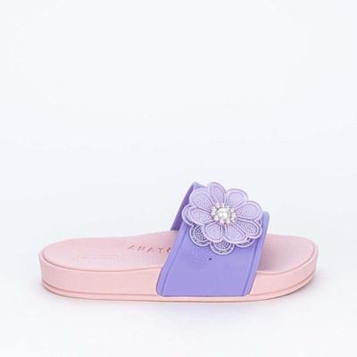 Slide Infantil Feminino Mar e Cor com Flor Rosa e Lilás