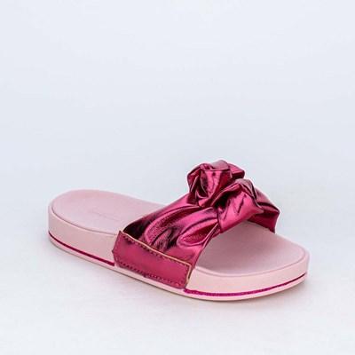 Slide Infantil Menina Sabrina Sato Pink Metalizado com Nó