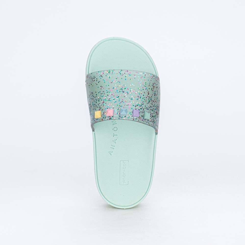 Slide Infantil Menina Sabrina Sato Verde com Glitter