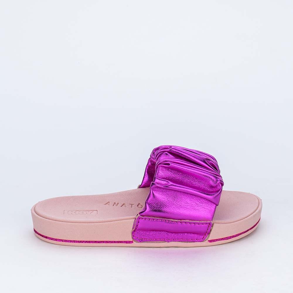 Slide Infantil para Meninas Kidy Comfy em Pink Metalizado