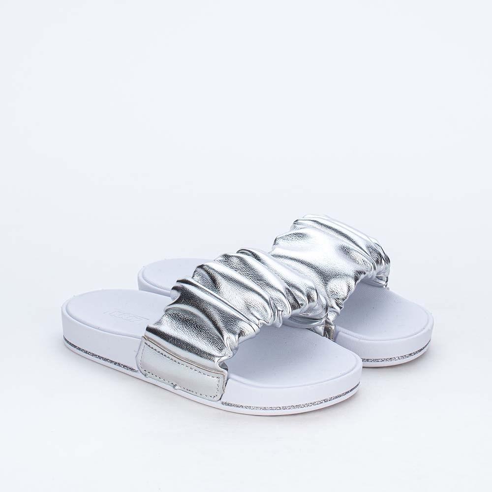 Slide Infantil para Meninas Kidy Comfy Prata Metalizado