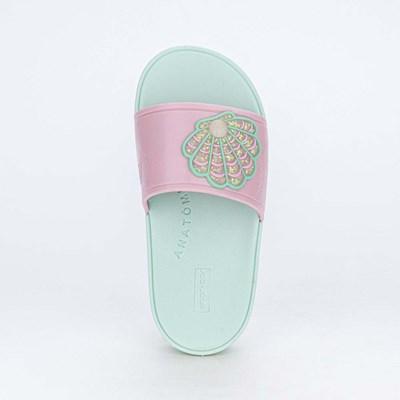 Slide Infantil para Meninas Mar e Cor Rosa Nude Fundo do Mar