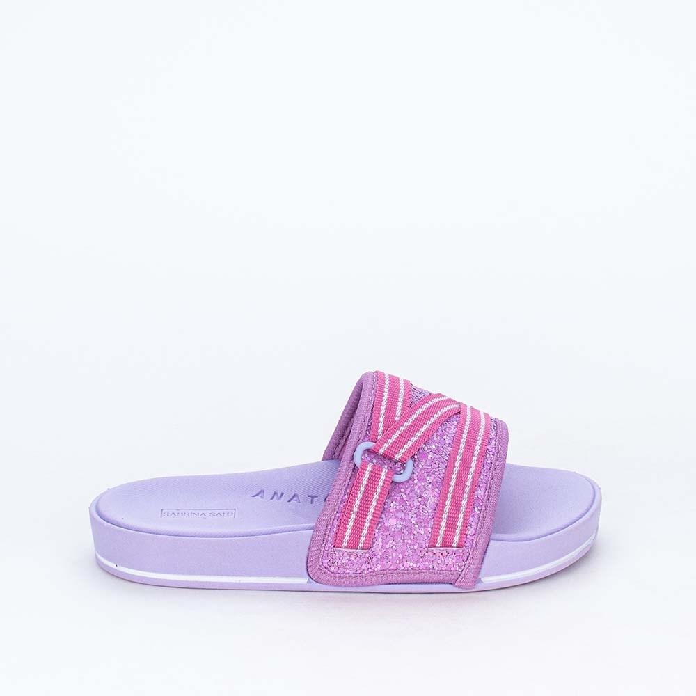 Slide Infantil para Meninas Sabrina Sato Comfy Glitter Lilás