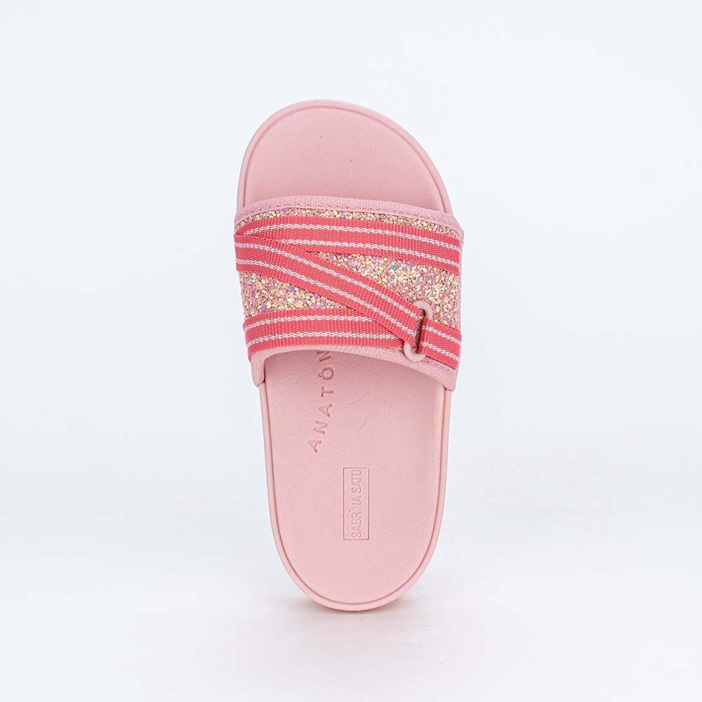 Slide Infantil para Meninas Sabrina Sato Comfy Glitter Nude