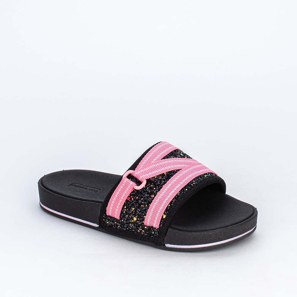 Slide Infantil para Meninas Sabrina Sato Comfy Glitter Preto
