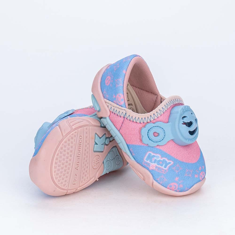 Tênis Bebê Kidy Protect com Repelente Rosa Nude e Azul