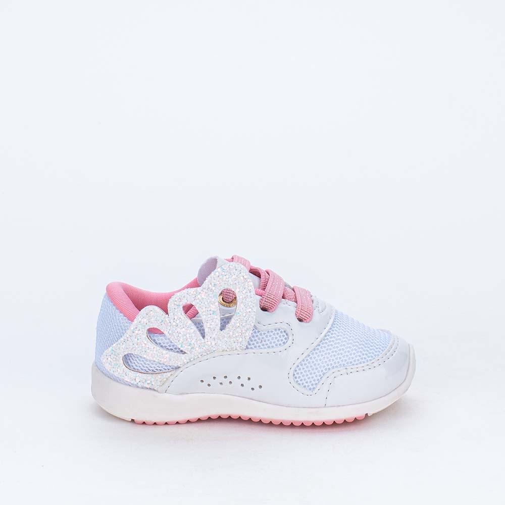 Tênis Bebê Menina Kidy Colors Branco com Asas em Glitter
