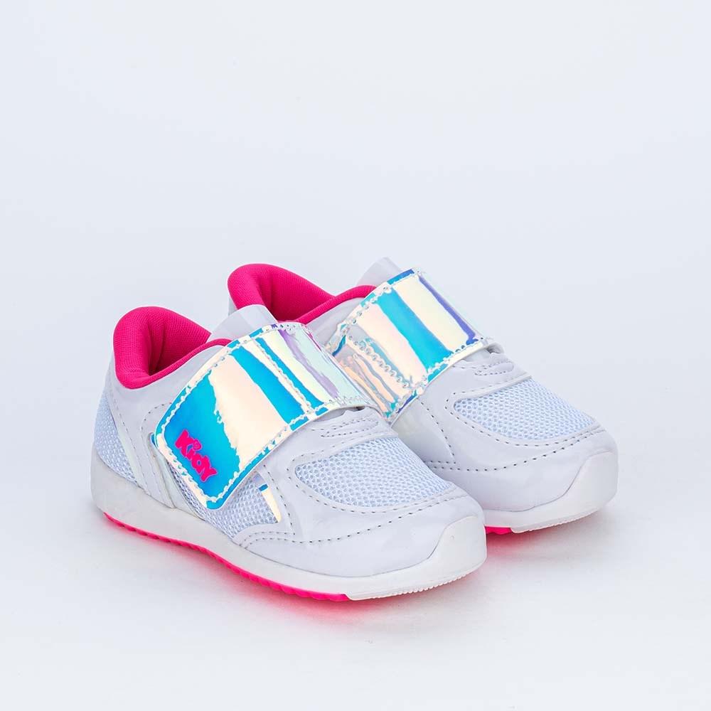 Tênis Bebê Menina Kidy Colors Branco com detalhe Holográfico