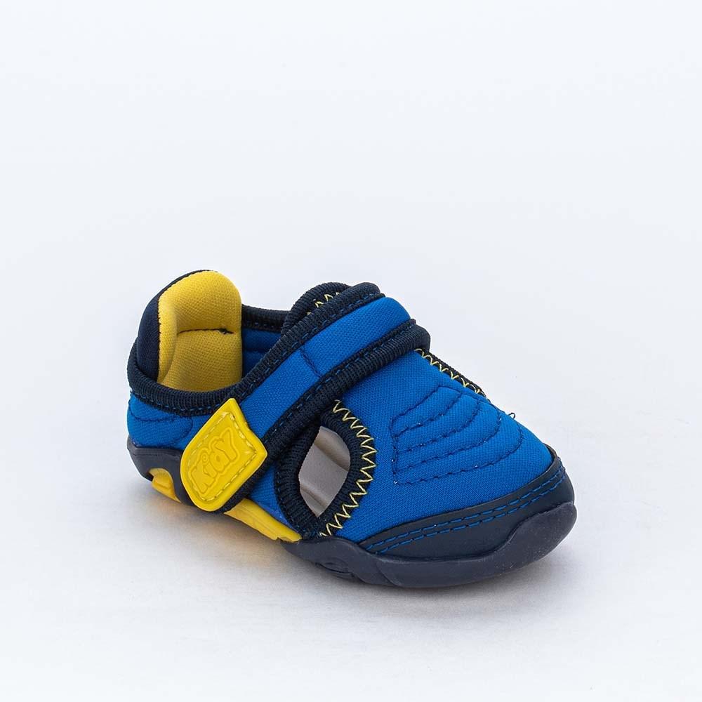 Tênis Bebê Menino Kidy Colors Equilibrio Azul e Amarelo