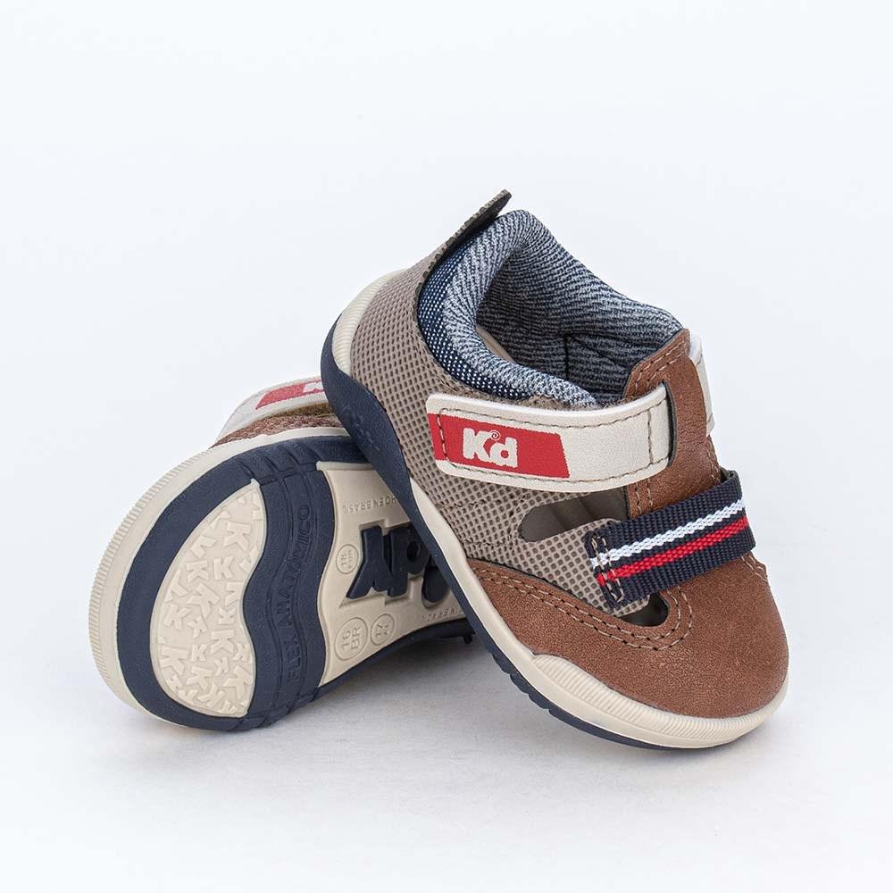 Tênis Bebê Menino Kidy Colors Equilibrio Castanho e Marinho