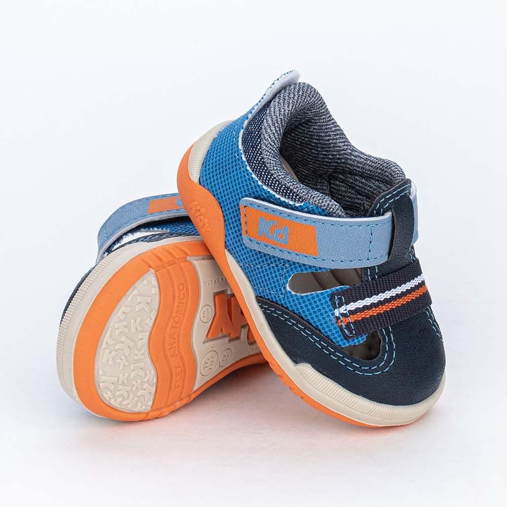 Tênis Bebê Menino Kidy Colors Equilibrio Marinho e Laranja