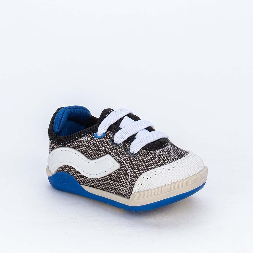 Tênis Bebê Menino Kidy Colors Equilibrio Preto e Azul Royal