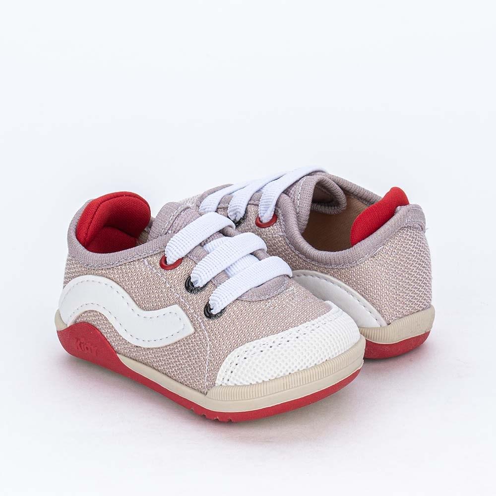 Tênis Bebê Menino Kidy Colors Equilibrio Taupé e Vermelho