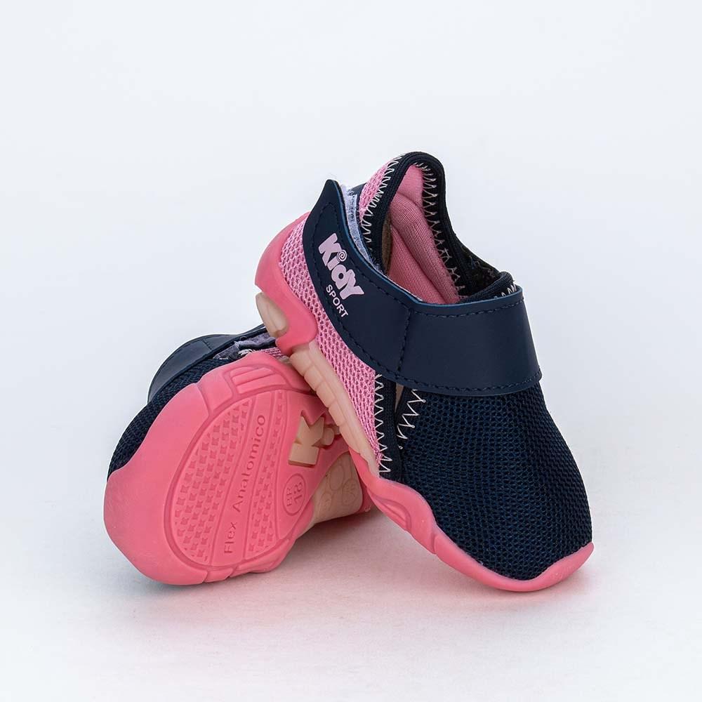 Tênis de Bebê Menina Kidy Colors Calce Fácil Marinho e Rosa