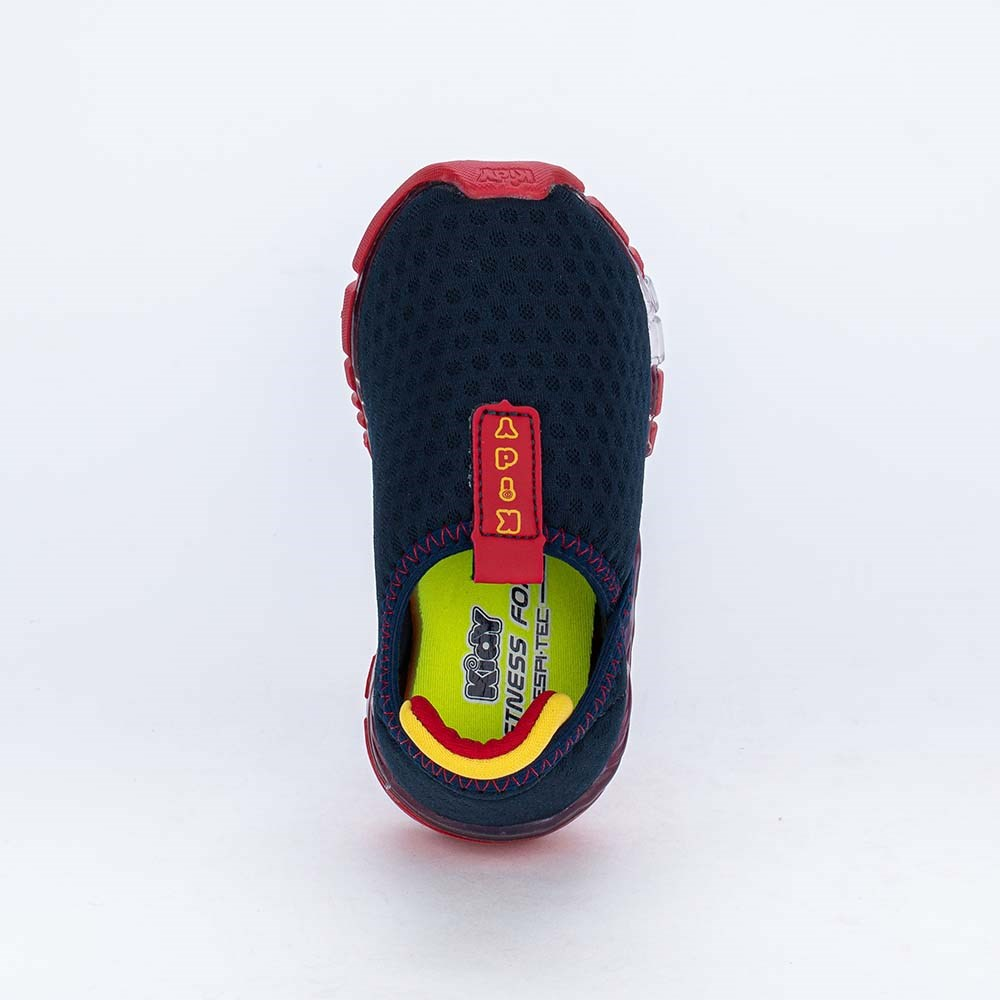 Tênis de Led Calce Fácil Kidy Flex Light Marinho e Vermelho