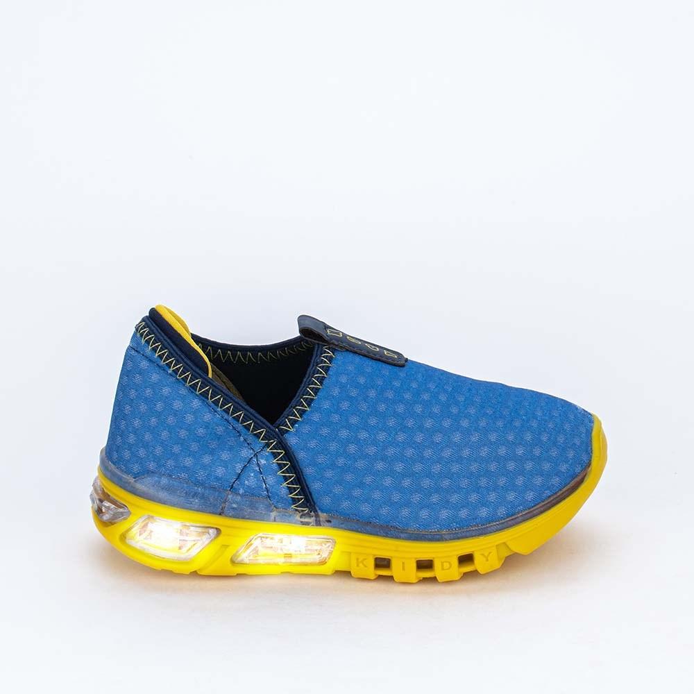 Tênis de Led Calce Fácil Kidy Light Fun Azul Royal e Amarelo