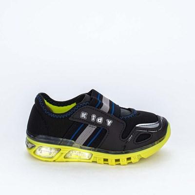 Tênis de Led Calce Fácil Light Fun Menino Preto e Amarelo
