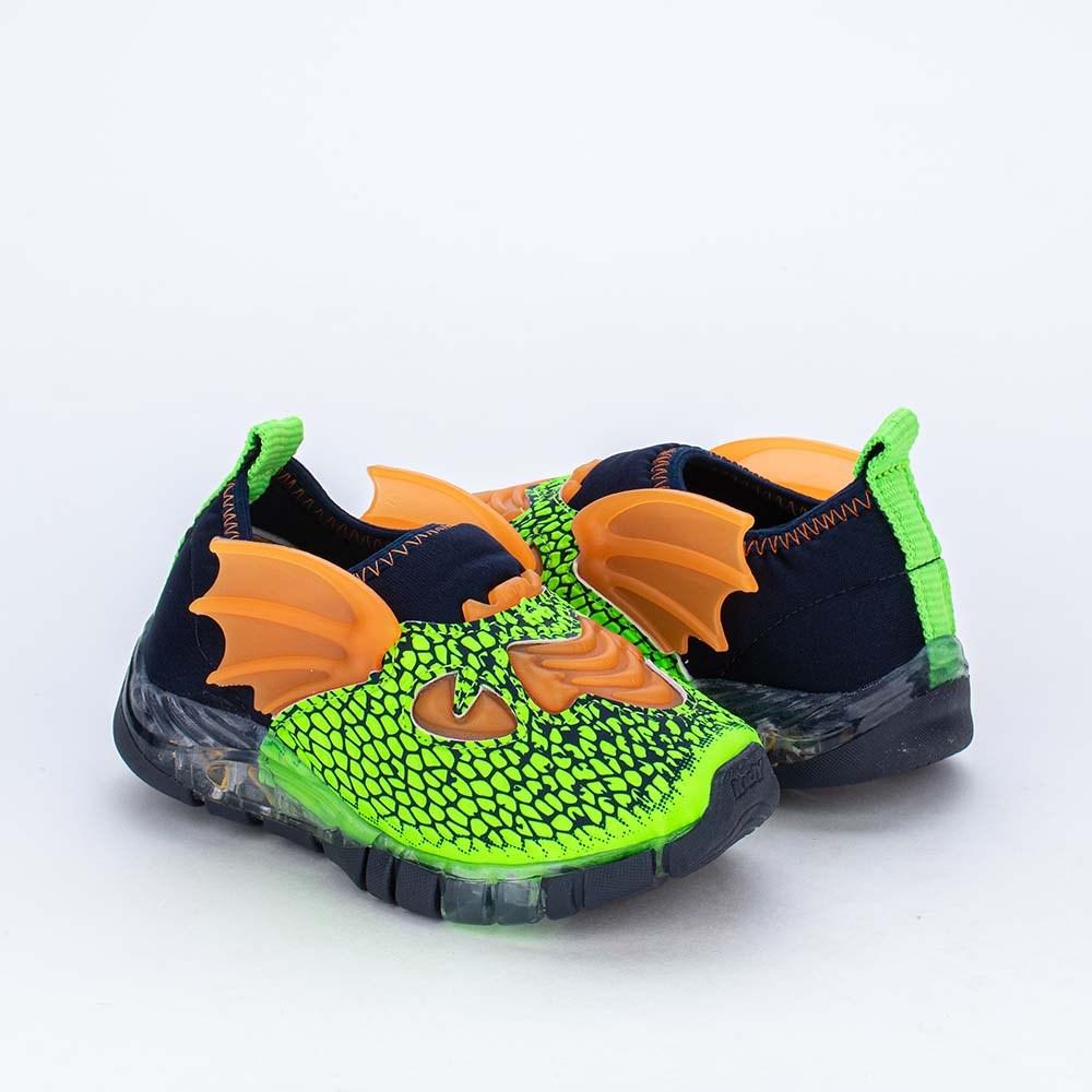 Tênis de Led Flex Pequeno Dragão Kidy Verde Neon com Asas