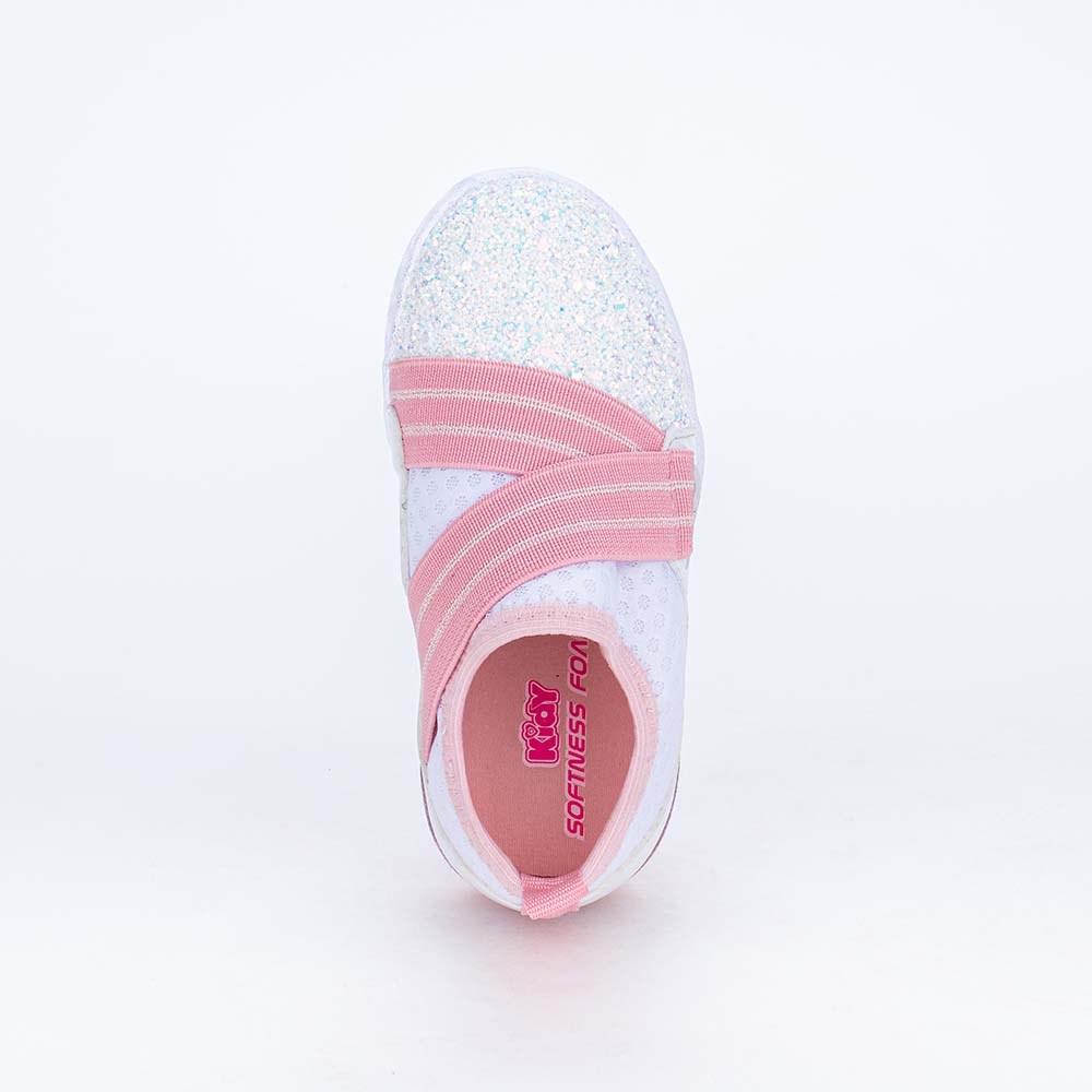 Tênis de Led Infantil Calce Fácil com Glitter Branco e Rosa
