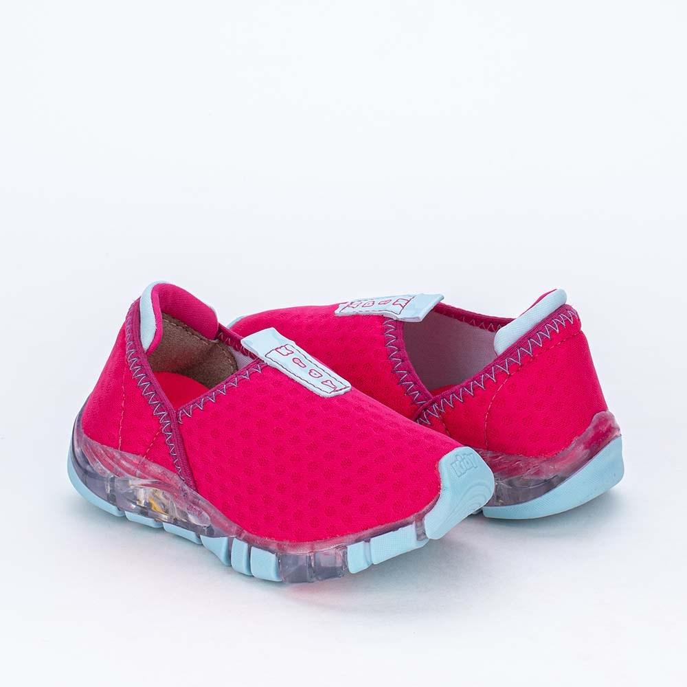 Tênis de Led Infantil Feminino Calce Fácil Kidy Pink e Anis