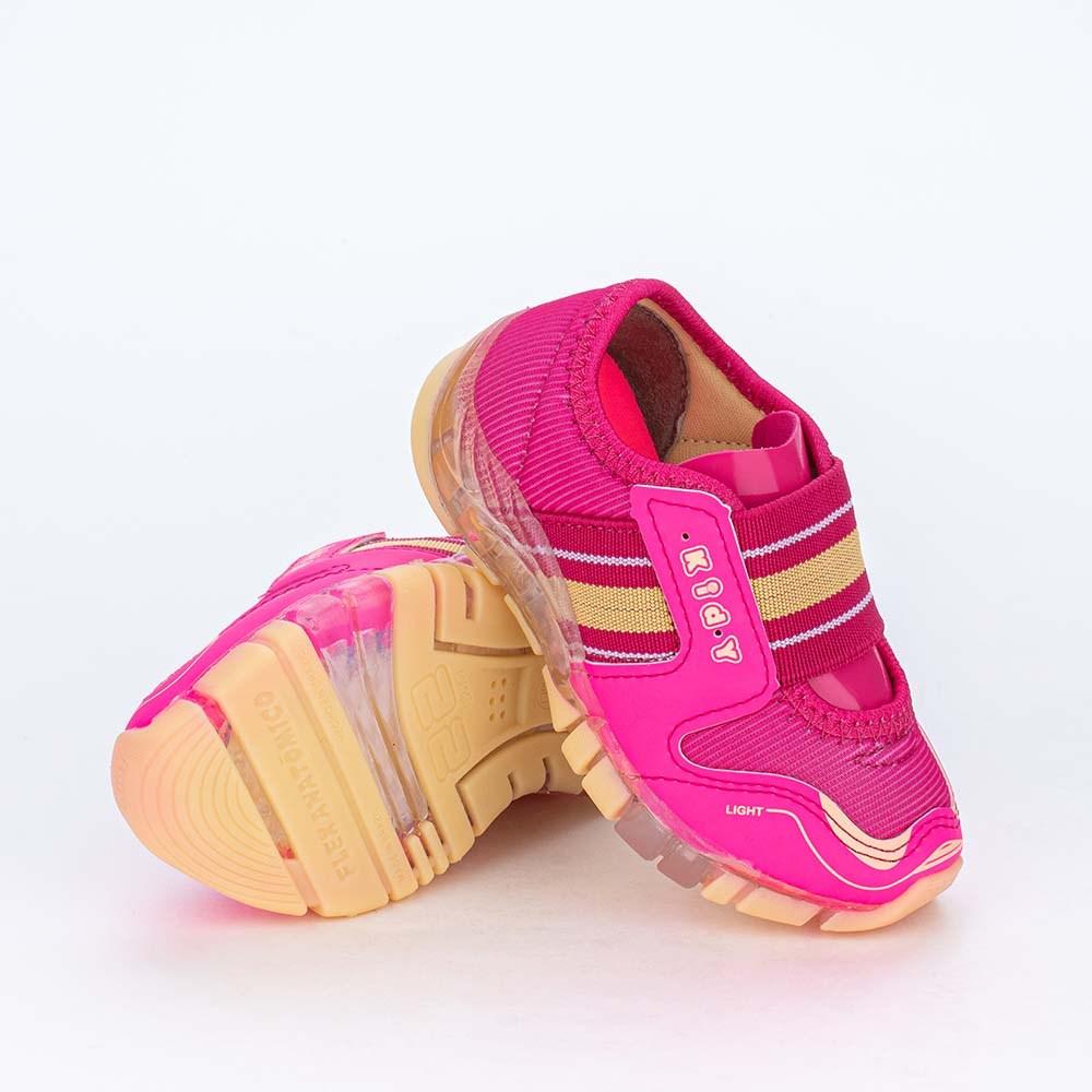 Tênis de Led Infantil Feminino com Elástico Pink e Amarelo